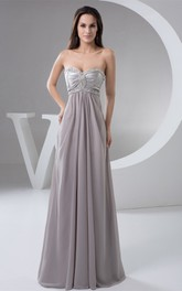 Sweetheart Empire Pleated Maxi Dress with Beaded Top