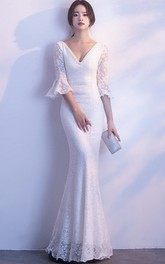 3/4 Poet Sleeve Sexy Mermaid Bridal Dress With Deep V-neck And Straps Back