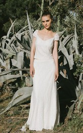 Elegant Two Piece Short Sleeve Lace Bridal Gown