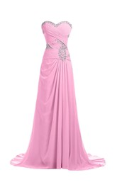 Sweetheart Rhinestoned Criss-cross Chiffon A-line Gown With Drapping
