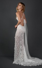 Halter Scalloped Lace Weddig Dress With Illusion