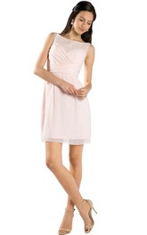 Short Bateau Neck Criss-Cross Sleeveless Chiffon Muti-Color Convertible Bridesmaid Dress