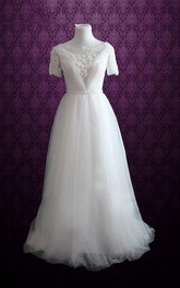 Bateau Neck Short Sleeve Dress With Beading Sash And Flower Detailings
