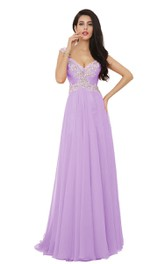 Cap-sleeve Crystal-beaded Chiffon A-line Dress With High-slit