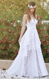 Plunged Haltered A-Line Lace Backless Wedding Dress With Draping