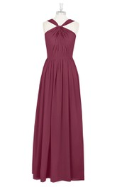 Floor Length A-Line Long Chiffon Pleated Dress With Strap