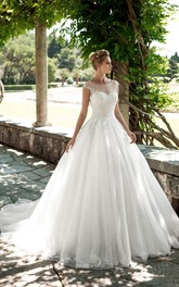 A-Line Long Scoop-Neck Cap-Sleeve Keyhole Tulle Dress With Appliques And Beading