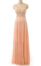 Elegant Cap Sleeve Illusion Chiffon Gown With Beading And Pleats