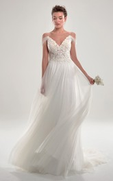 Elegant Sheath Spaghetti Bridal Gown With Court Train