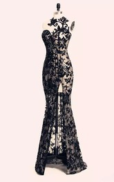 Bateau Lace Sexy Modern Bodycon Floor-length Sleeveless Open Back Zipper Lace Evening Dress