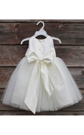 Ivory Petals Sleeveless Jewel Neck Tulle Toddler Dress With Elegant Bow Sash