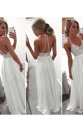 A-Line Princess Halter Sleeveless Chiffon Beading Sweep Brush Train Dresses