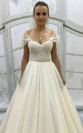 A-Line Short Mini V-Neck Tulle Draping Lace Embroidered Corset Back Wedding Dress
