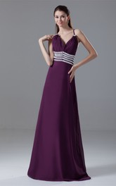 Spaghetti-Strap Chiffon Maxi Dress with Ruching and Gemmed Waist
