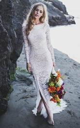 Lace Sheath Fitted Long Sleeve Wedding Dress With Front Split