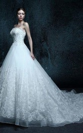 A-Line Strapped Chapel Train Lace Organza Dress With Appliques