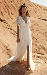 Plunging Half Sleeve Bohemian Front Split Lace And Chiffon Wedding Dress With Open Back