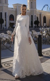A-line Lace Long Sleeve Modest Wedding Dress With Button Back And Brush Train