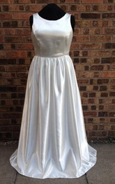 Full Length Satin Sleeveless A-Line Wedding Dress With Pleats