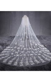 New Beautiful Long Tailed Bride Wedding Veil with Lace Flower