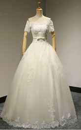 Off-the-shoulder A-line Floor-length Wedding Dress With Appliques