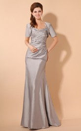 Taffeta Long Maxi Style Dress With Crisscross Ruching