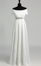 Graceful Off-the-shoulder A-line Beaded Satin Wedding Dress