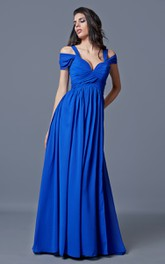 Off-the-shoulder Bandaged Long Chiffon A-line Dress