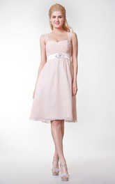 Spaghetti Straps Empire Knee Length Chiffon Dress With Sash Beading Bow