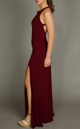 Maroon Open Back Maxi Sexy Slit Evening Formal Long Evening Gown Cocktail Designer Dress