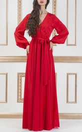 Red Long Chiffon Evening Formal With Sleeves Maxi Bridesmaid Dress