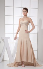 Sweetheart Chiffon Strapless High-Low Dress With Beading