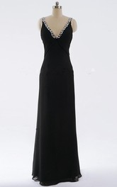 Sheath Maxi V-neck Backless Dress With Beading