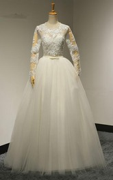 Jewel Neck Long Sleeve A-line Tulle Wedding Dress With Plts