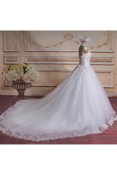 A-Line Ball Gown Sweetheart Chapel Train Tull Lace Dress With Beading