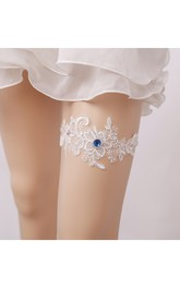 Blue Diamond Lace Applique Elastic Garter Within 16-23inch