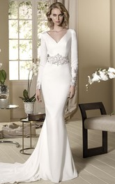 Sheath Beaded Long-Sleeve Floor-Length V-Neck Jersey Wedding Dress