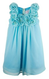 Sleeveless Pleated Dress With Flowers and Beadings