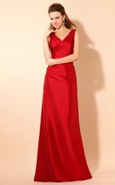 Strapless V-Neck Maxi Taffeta Dress With Ruching And Ruffle