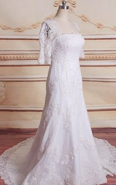 Trumpet Chapel Train Lace Satin Dress With Beading Appliques Keyhole Back