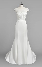 Bateau Neck Cap Sleeve Mermaid Satin Wedding Dress With Ruching