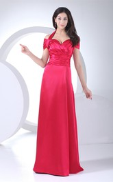 Off-The-Shoulder Criss-Cross Satin Sheath Dress with Halter