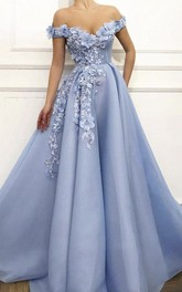 Stunning Off-the-shoulder Floral Appliqued Ball Gown Dress With Beading