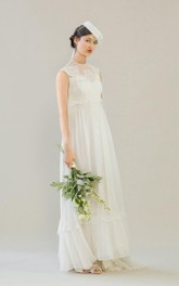 High Neck 1960S Empire Wedding Dress With Lace Top