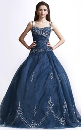 Beaded Adorable Straps Ballgown With Lace Appliques And Lace-up Back