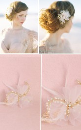 Fairy Chiffon Feathers Natural Pearl Diamond  Pink Hairpin
