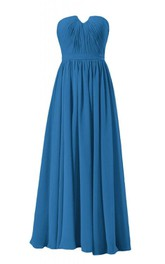 Strapless Ruched Bodice Long Pleated Chiffon Dress
