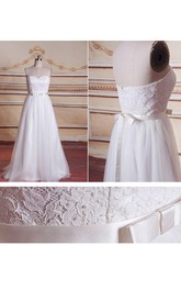 A-Line Strapped Sweetheart Tulle Lace Satin Weddig Dress