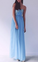 SweetHeat Blue Maxi Chiffon Dress