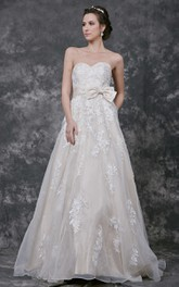 Sleeveless Sweetheart A-line Organza Gown With Lace Court Train